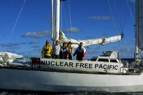 French crew of yacht Fio Oko under sail in the Tasman Sea