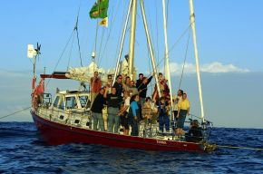 Group shot of crew members of Nuclear Free Pacific Flotilla onboard Tiama